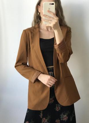 Пиджак карамельный удлиненный объемный прямой оверсайз коричневый классический хаки