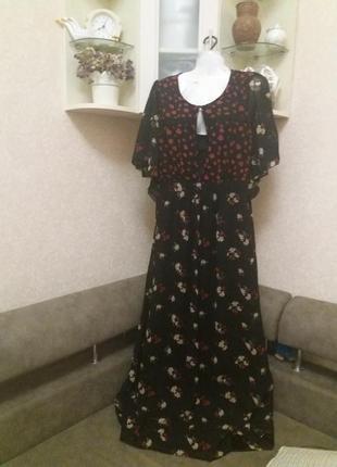Платье в цветочный принт в пол .бренд-yumi