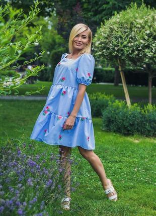 Платье летнее коттон розы 42-52