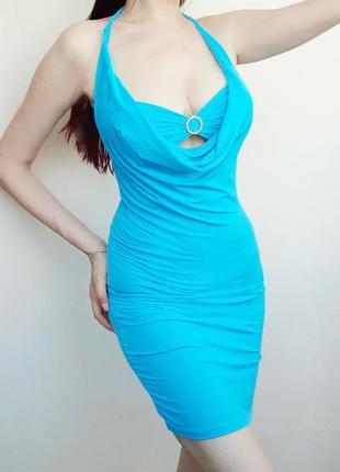 Легкое нарядное платье бирюзов голуб лето праздн меропр party 21 вечер клуб фотос