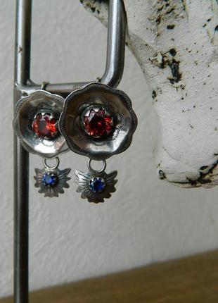 Серьги этно бохо винтаж дукач сережки подвеска кулон чокер фианит красный синий
