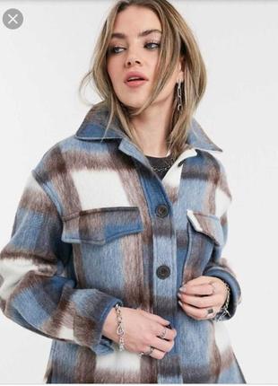 Новая теплая рубашка, жакет, пиджак bershka в клетку