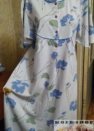 💞домашнее платье ,ночная рубашка белого цвета в цветочный принт. 46/48