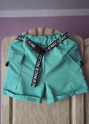 Продам мятные / бирюзовые шорты с накладными карманами и поясом с надписями