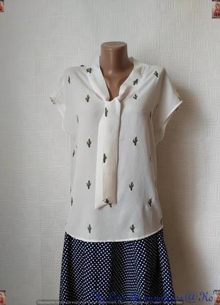 Новая красивая нарядная блуза в белом цвете с вышитыми кактусами, размер л-хл