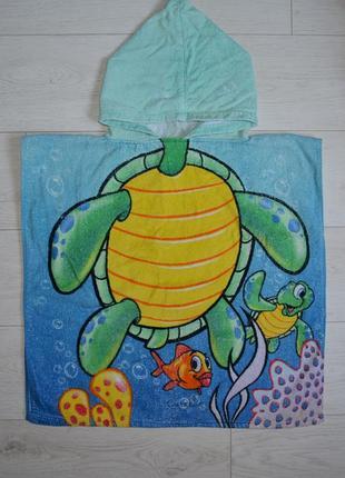 Фирменное детское полотенце пончо махровое черепашка черепашонок
