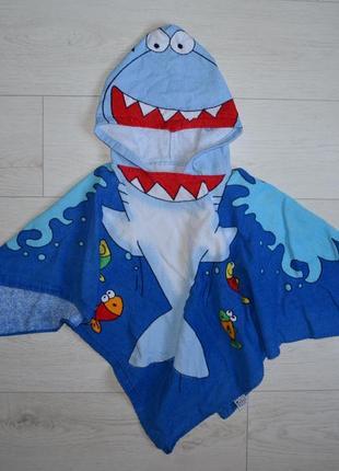 Фирменное детское полотенце пончо акула
