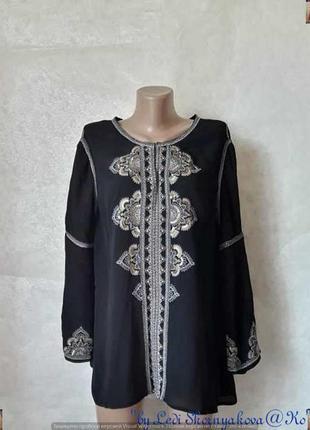 Фирменная monsoon вискозная шикарная нарядная блуза в чёрном с вышивкой, размер 3хл