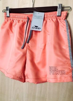💣 sale! легкие спортивные, пляжные шорты девочке 146/152, персиковый неон