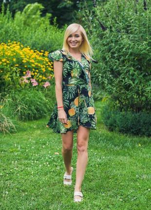 Платье на запах короткое ананас 42-58