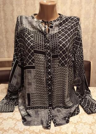 Рубашка, блузка, принт печворк, длинный рукав.