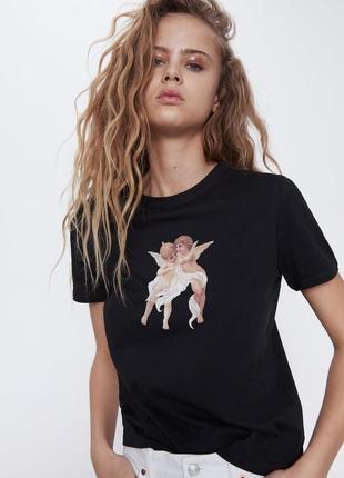 Новая черная футболка zara с принтом купидон, ангел,ангелочек