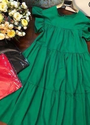 Зелёное хлопковое платье