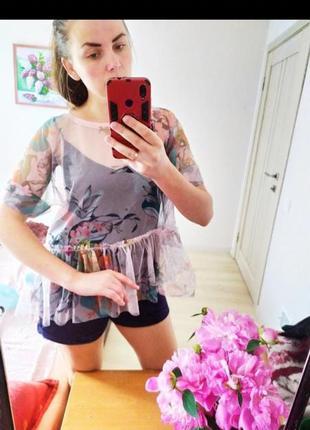 Трендовая прозрачная блуза сеточка