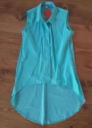 Блузка рубашка удлинённая сзади