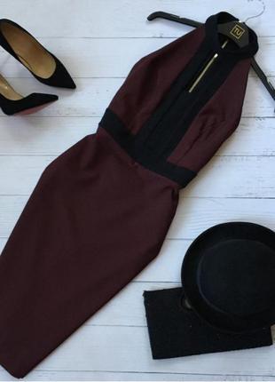 Шикарное платье миди футляр с чокером сзади на молнии