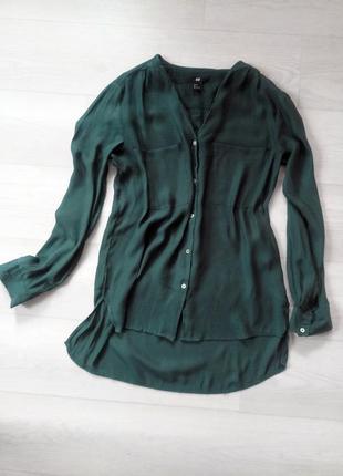 Рубашка h&m синяя бирюзовая зелёная тончайшая мягкая нежная ткань