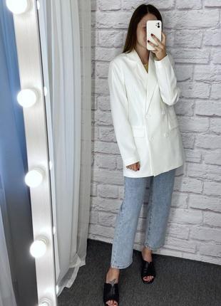 Белый двубортный оверсайз пиджак missguided