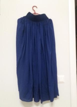 Итальянская angelie длинная синяя  юбка на резинке