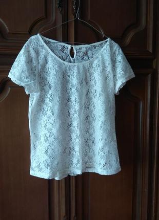 Футболка ажурная тюль 12/42,блуза белая кружево,кофта нарядная летняя
