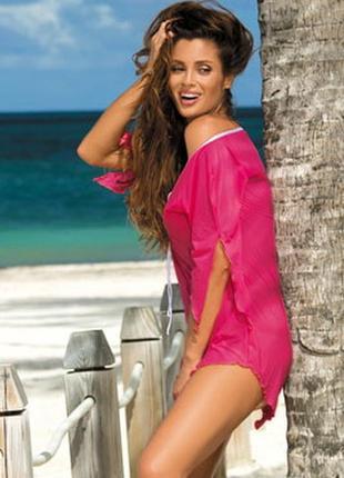 Lily m-339 marko розовая пляжная туника платье накидка парео микросетка