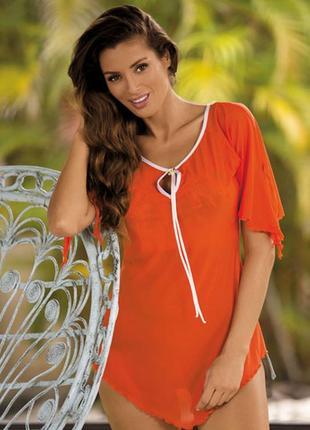 Lily m-339 marko оранжевая пляжная туника платье накидка парео микросетка