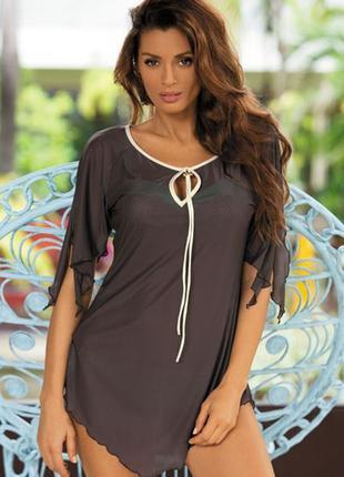 Lily m-339 marko коричневая пляжная туника платье накидка парео микросетка