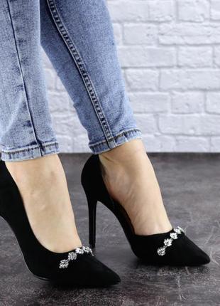 Женские туфли на каблуке черные, туфли на шпильке, замшевые туфли