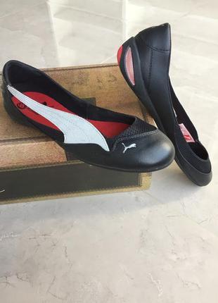 Стильные летние черные кожаные балетки puma, оригинал
