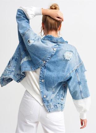Очень стильный женский джинсовый пиджак 👌