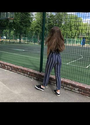 Полосатые штаны высокая талия на завязках
