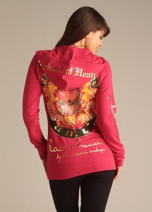 Женская брендовая кофта hoodie худи с принтом дизайнера christian audigier, s-m, оригинал