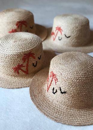 Соломенная шляпа канотье с пальмами