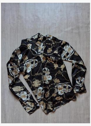 Легкая рубашка на длинный рукав с принтом цепи черная