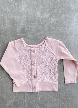 Красивая розовая кофточка на девочку рост 76 см