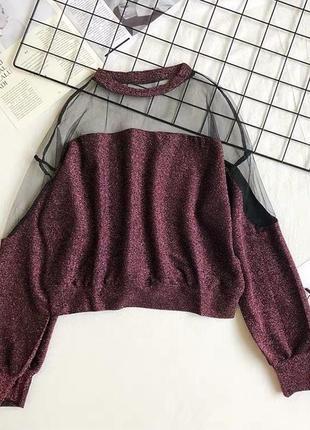 Блуза блестящая с сеткой и люрексом 4 цвета