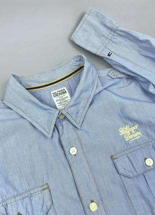 Рубашка tommy hilfiger denim royal оригинал размер m l polo lacoste