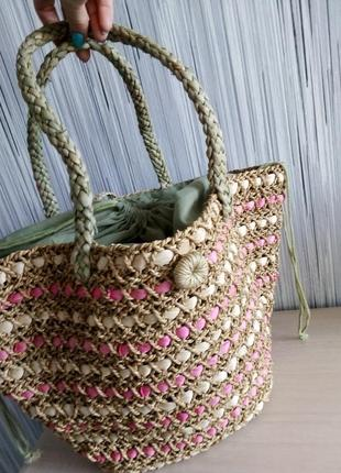 Соломенная сумка корзина