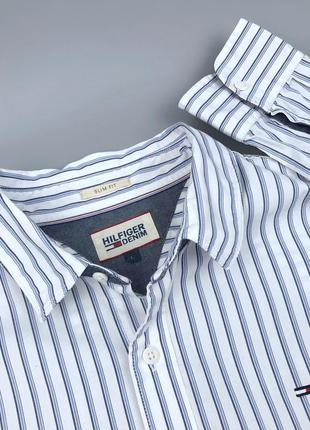 Рубашка в полоску tommy hilfiger denim оригинал размер m l lacoste