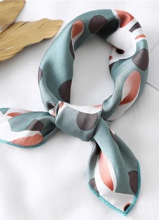 Качественный платок на шею голубой шелковый шарф бант чалма принт кролик зайчик хустка