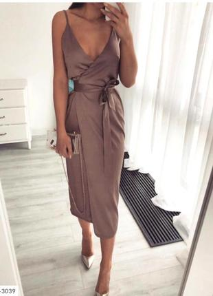Легкое шелковое платье миди на запах шелк армани