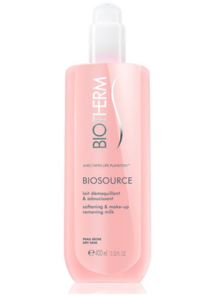 Молочко для лица biotherm biosource softeninig cleansing milk dry skin 400 ml