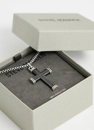 Сріблястий чоловічий ланцюжок, цепочка з хрестиком, с крестом від steve madden💎з сайту aso