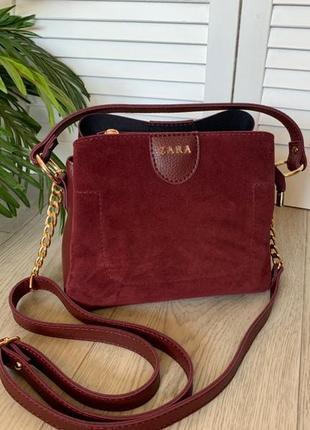 Новая сумка бордо с натуральной замшей