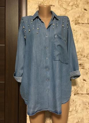 Оригинальная лёгкая джинсовая рубашка с жемчугом,оверсайз pimkie