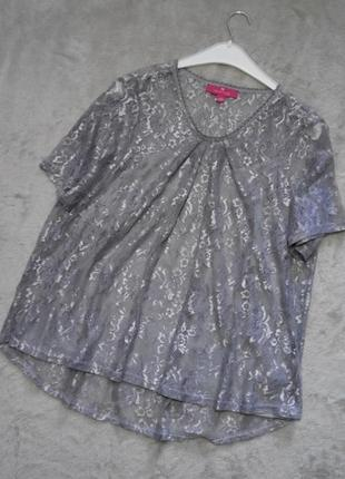 Кружевная ажурная блузка+майка короткий рукав с серебристым напылением размер 16-18