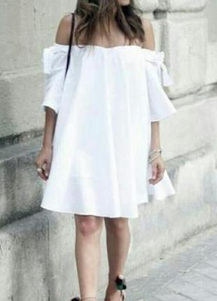 Натуральное коттоновое белое платье с бантами