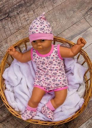Комплект ясельный на лето боди шапочка пинетки для девочки