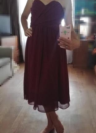 Asos💃 шифоновое платье с открытыми плечами, нарядное, сукня, плаття, сарафан, марсала