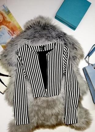Модный короткий жакет h&m в полоску короткая накидка на лето хлопок
